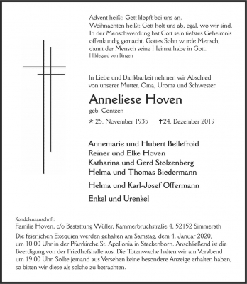 Anneliese Hoven, 2019-12-24